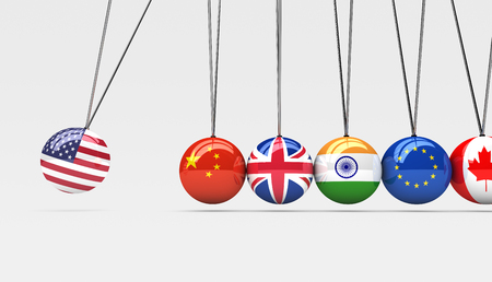 trades: International countries relationships and global economy consequences concept with a cradle and flags on spheres 3d illustration.