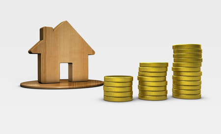 House icon and stacks of growing golden coins property value and investment concept 3D illustration.