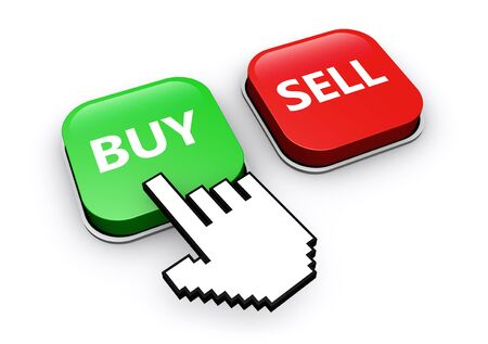 buy icon: Hand icon clicking on buy or sell web button 3D illustration.