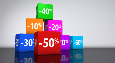 percentage sign: Shopping sale, reduction, discount and promo concept with colorful cubes and percentage sign 3D illustration backdrop.