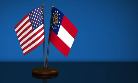 bilateral: Georgia State flag and USA desk flags on blue background 3D illustration.