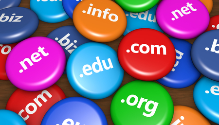 domains: Website and Internet domain name web concept with domains sign on colorful badges 3D illustration background.
