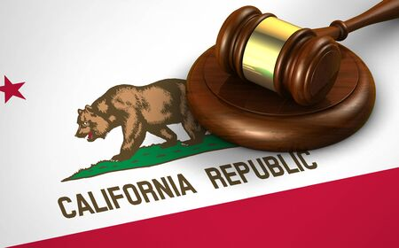 congress: California US state law, legal system and justice concept with a 3D rendering of a gavel on Californian flag. Stock Photo