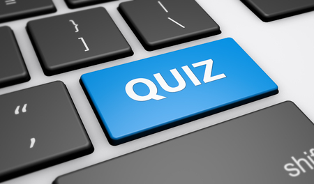 quizzes: Quiz sign and word on a blue computer keyboard button 3d illustration.