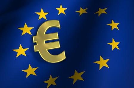 European Union Flag And Euro Sign Gold Icon And Eu Community Stock