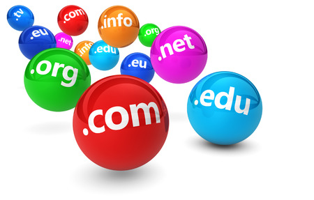 domains: Website and Internet domain name web concept with domains sign on colorful bouncing balls 3D illustration on white background.