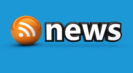 newscast: News sign and RSS feed icon web and online information concept 3D illustration on blue background.