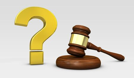 Law and legal questions concept with a golden question mark sign and a wooden judge gavel 3D illustration.