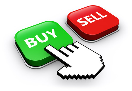 buy icon: Hand icon clicking on buy or sell web button online selling and buying concept 3D illustration.