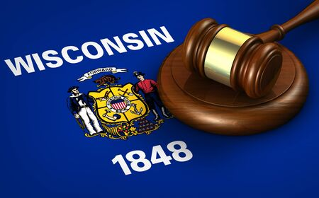 milwaukee: Wisconsin US state law, legal system and justice concept with a 3D rendering of a gavel on Wisconsinite flag.
