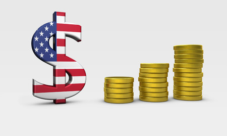 USA economy concept with United States of America flag on dollar icon and golden coins stacks 3D illustration. Stock Photo