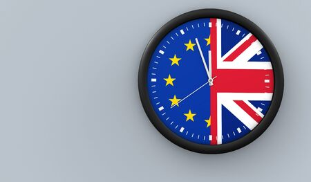 flag: Brexit UK exit from EU negotiation process concept with Union Jack and European Union flag on a clock 3D illustration.