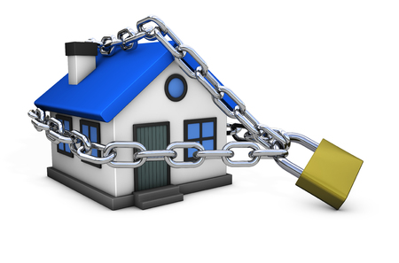House security concept with a home icon model locked with chain and padlock 3D illustration isolated on white background.