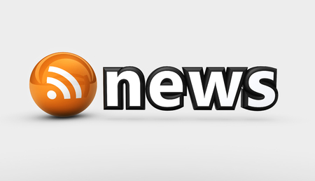 newscast: News sign and RSS feed symbol web and online information concept 3D illustration.