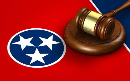 Tennessee US state law, legal system and justice concept with a 3D rendering of a gavel on Tennessean flag.