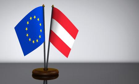 election commission: Austria and European Union desk flag 3D illustration.