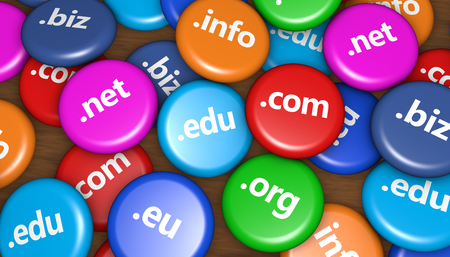 Internet domain name website hosting concept with domains sign on colorful badges 3D illustration.