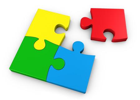 Puzzelstukjes in vier verschillende kleuren zakelijke teamwerk concept 3D illustratie op witte achtergrond.