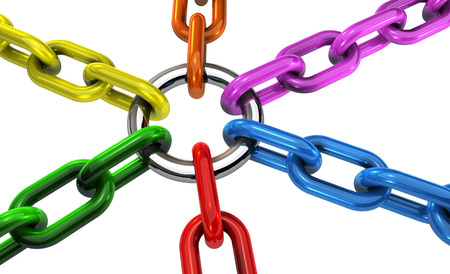 Diversity and inclusion business teamwork cooperation and collaboration concept with linked chains in different colors 3D illustration on white background. Stock fotó