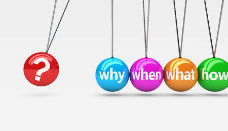 internet mark: Customer support questions business service concept with sign and question mark symbol on colorful spheres 3D illustration.