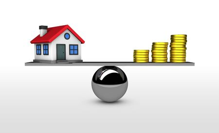 mortgaging: Property value, house investment and mortgage concept with balance between home model and money 3D illustration.