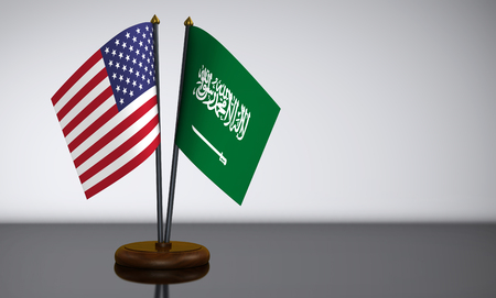 United States of America and Saudi Arabia desk flags 3D illustration.