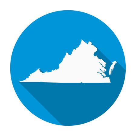 Icône plate carte d'état de Virginie avec ombre portée illustration vectorielle EPS 10.