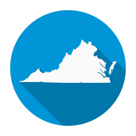 Virginia state map flat icon with long shadow EPS 10 vector illustration.