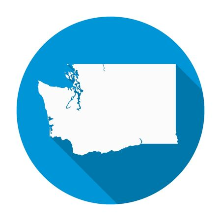 Washington state map flat icon with long shadow EPS 10 vector illustration.