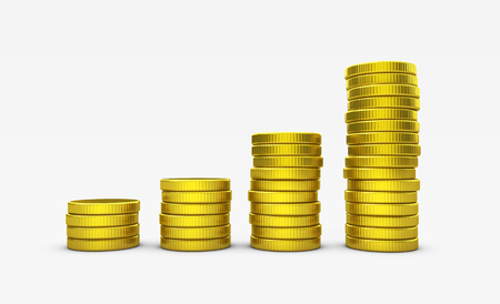 Growing stack of golden coins business success and money investment concept 3D illustration. Stock Photo