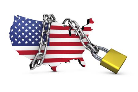 USA national security concept with United States flag map icon locked with a chain and padlock 3D illustration on white background. Stock Photo