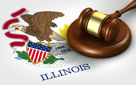 Illinois US state law, legal system and justice concept with a 3D rendering of a gavel on Illinoisan flag. Stock Photo