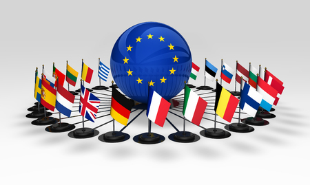 european community: European union community and international business relationships in Europe concept with EU countries flags 3D illustration.