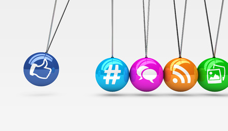 Social media and network web icons on colorful spheres concept 3D illustration.
