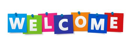 Welkom woord en teken op kleurrijke papier notities vector EPS 10 illustratie op een witte achtergrond.