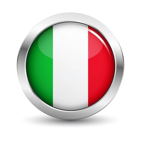 quality guarantee: Italy icon silver glossy badge button with Italian flag and shadow vector EPS 10 illustration on white background.