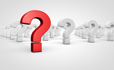 Question mark red symbol and icon customer faqs and support concept 3D illustration.