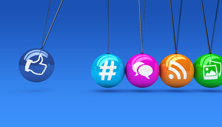 Social media and network web icons on colorful spheres concept 3D illustration on blue background.