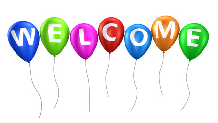 Welcome word and sign on colorful balloons isolated on white background 3D illustration. Stock Photo
