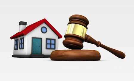 inheritance: Property auction laws and legislation concept with a judge gavel and house model 3D illustration.