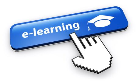 tutor: E-learning and online education web button 3D illustration on white background.