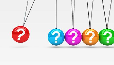 Symbole de point d'interrogation et icône sur sphères colorées client service support questions concept illustration 3d.