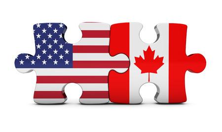 米国およびカナダの二国間協力、米国とカナダの国旗と関係概念の取引で白い背景の部分 3 D イラストをパズルします。