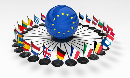 European union flags and business relationships network in EU concept 3D illustration.