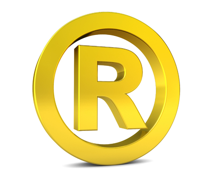 consumer rights: Business registered trademark golden sign and symbol 3D illustration icon on white background.