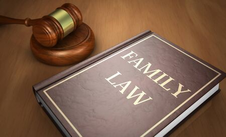 Family law concept with sign printed on a book and a gavel on a wooden desk 3D illustration.