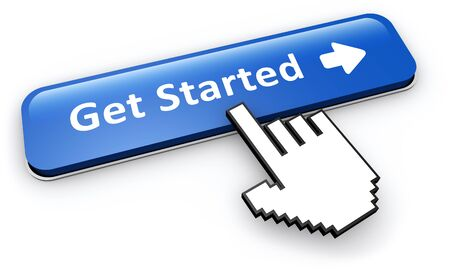 Get started concept with hand cursor clicking on a blue web button with sign and arrow 3D illustration.
