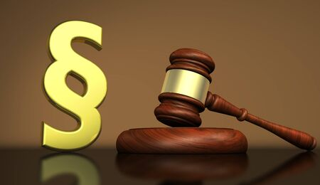 golden rule: Judiciary, law and legal system concept with a golden paragraph symbol and a wooden gavel on a desktop 3D illustration. Stock Photo