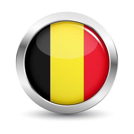 Belgium icon silver glossy badge button with Belgian flag and shadow vector EPS 10 illustration on white background. Illustration