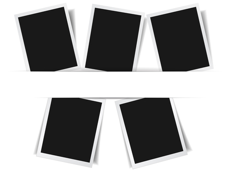 Set of 5 photo frame album collection effect with shadows and central paper stripe for copy space vector EPS10 illustration on white background. Çizim